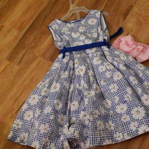 Other - Blue and white check dress with daisies